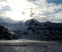 Schönr Ausblick bei dem Kiteevent mit Snowkite Odenwald und Ozonekites am Spot Monte Spluga zum Snowkiten.