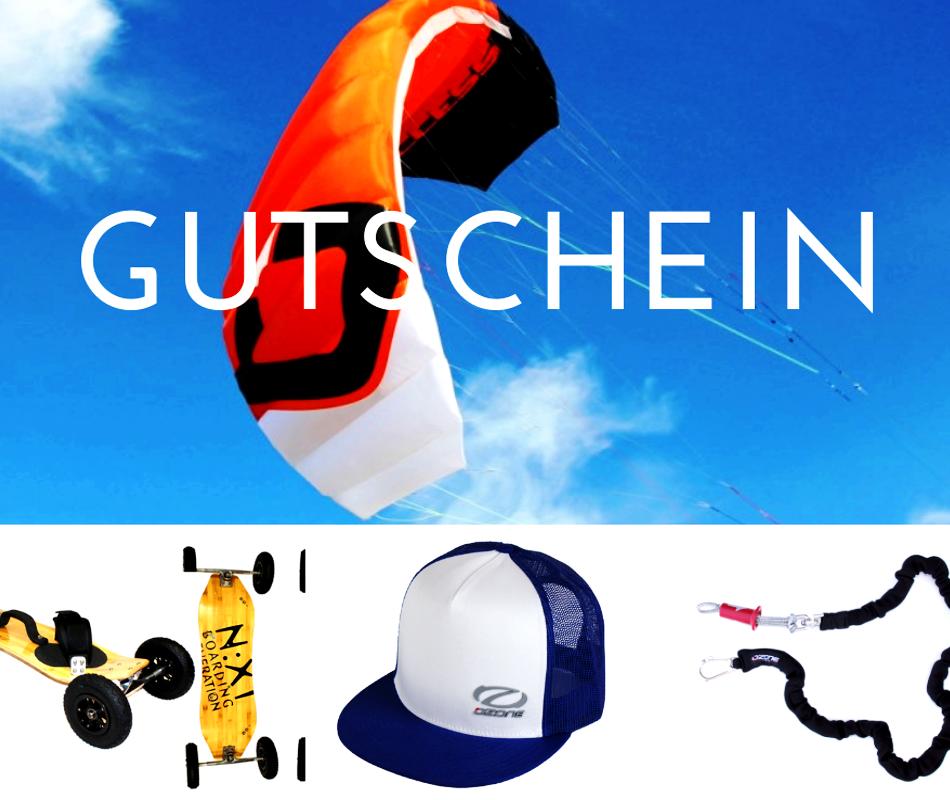 Kitematerial wie Kites, Kiteleashs, Trapeze, Shirts als Gutschein verschenken.