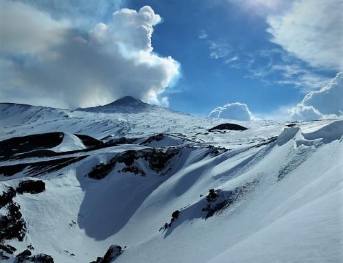ride up mit dem Snowkite auf den Nord Peak des Ätna mit dem ExploreV1 und dem Peak4