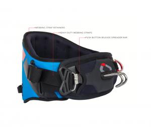 Das neue Ozone Kitesurf Trapez V2 Man nennt es auch Harness Connect Water. Es ist die Farbe blau zu sehen.