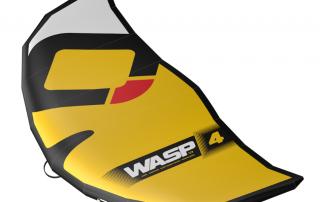 Der WASP V1 in der Farbe gelb ist ein Kitesurfwing zum Landkiten, Snowkiten und Kitesurfen.
